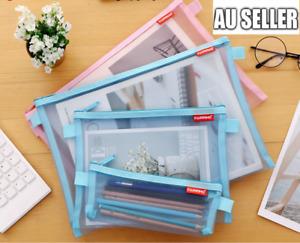 A4/A5/A6 Clear Pencil Case Office Mesh Zipper Stationery Bag School Document Bag