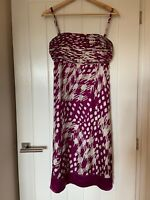 Ted Baker Dress Size 2 UK 10 Womens Ladies Pink White Summer Silk Lined Wedding
