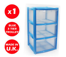 3 DRAWER PLASTIC STORAGE DRAWER - CHEST UNIT - TOWER - WHEELS - TOYS - BLUE