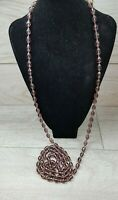 Vintage Art Deco Purple faceted Glass Very Long Flapper Necklace