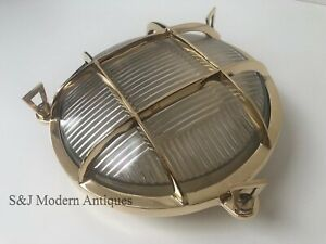 Industrial Bulkhead Light Wall Ceiling Solid Brass Gold Marine Round Nautical