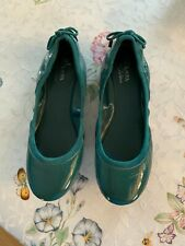 Womens Cole Haan Teal Patent Leather Ballet Flats Size 5