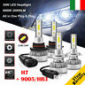 110W H7 & 9005/HB3 26000LM Auto LED Fari Lampadine Xenon Bianco 6000K 2 Coppie