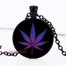 Pot Leaf  Cabochon Glass Black Chain Fashion Pendant Necklace