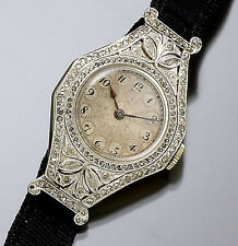 WOMENS DECO PLATINUM DIAMOND HAAS WATCH C1920S | PLATINUM OVER 18K GOLD