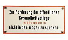 Eisenbahn Schild Zur Förderung der öffentlichen Gesundheits..17,5 x 8 cm Emaille