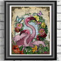Vintage Pink Flamingo Original Dictionary Print Page Wall Art Picture Flowers