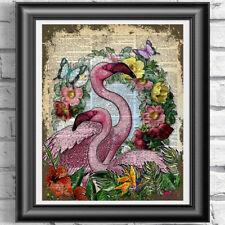 DICTIONARY PAGE ART PRINT VINTAGE ANTIQUE BOOK Pink Flamingo Picture