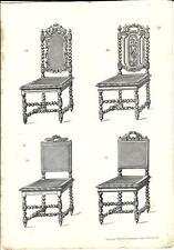 Stampa antica QUATTRO SEDIE Mobili Arredamenti 1850 Old antique Print FURNITURE