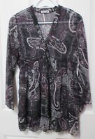 Ladies chiffon brown tones blouse long sleeved New Look label size 14