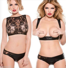 UK Sexy Lace Bikini Underwear Bra Lingerie Set Wet look Faux Leather Sleepwear M