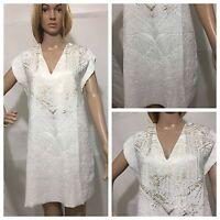ZARA WHITE SHORT RUBBERISED DRESS V-NECK GOLDEN FRONT SIZE S 5580/234 BNWT
