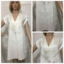 ZARA SHORT RUBBERISED DRESS WHITE V-NECK GOLDEN FRONT SIZE XL 5580/234