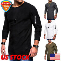 Men's Slim Fit Crew Neck Long Sleeve Muscle Tee T-shirt Casual Tops Shirts US