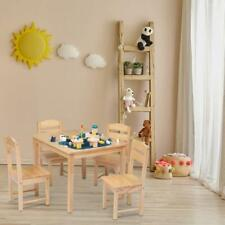 Kids Table 4 Chairs Set Play Snack Area Espresso Wood Color Room Furniture