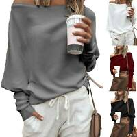 Womens Long Sleeve Pullover Loose Sweater One Shoulder Jumper Sweatshirt Tops