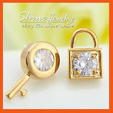 18K GOLD GF E221 KEY LOCK SIMULATED DIAMOND CRYSTAL STATEMENT SOLID STUD EARRING