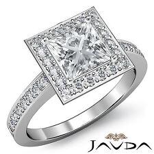 Halo Pre-Set Princess Cut Diamond Engagement Ring GIA G VS1 Platinum 950 1.88ct