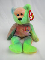 """Rare """"Peace"""" PVC Fill Bear 1996 Retired TY Beanie Baby Genuine With Tag Errors"""