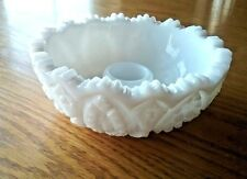 "Milk Glass Candle Holder Star Quilt Dish Pressed Glass 4.5"" diameter"