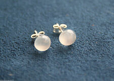 Round Moonstone Sterling Silver Fine Earrings