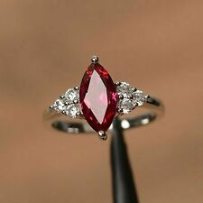 14k White Gold Over 1.50 CT Marquise Cut Red Ruby Diamond Engagement Ring