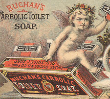 BUCHAN''S CARBOLIC TOILET SOAP TRADE CARD, SWANS PULLING CHRUB on BOX BOAT Z523