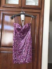 Sherri Hill Pink Fuchsia Beaded Short Cocktail Prom Homecoming Dress size 6