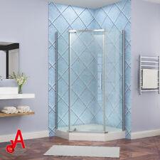 900x900x1950mm Diamond Framless Shower Screen with Brass Pivot Door