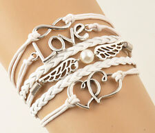 White LOVE Wings Heart Charms Leather Rope Fashion Infinity Friendship Bracelet