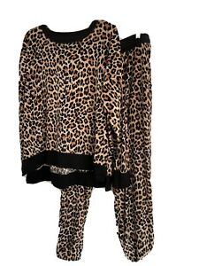 NWT SECRET TREASURES Leopard Print Soft VELOUR 2 PIECE SLEEP LOUNGE SET SIZE XL