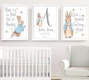 Peter Rabbit Boys Nursery Prints Set Of 3, Kids Print Poster Pictures Room Decor