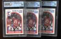 (3) Count Lot Michael Jordan 1989-90 Hoops #21 All-Star Bulls GEM MINT 10