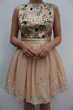 Little Mistress Pink Floral Embellished Prom Evening Skater Dress 8 36 US 4 New