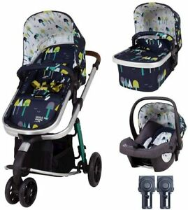 New Cosatto giggle 3 in 1 pram/pushchair Wilderness Ink with car seat, raincover