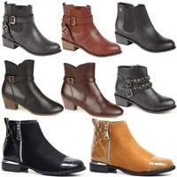 Ladies Chelsea Boots Women Block Heel Quilted Ankle Biker Riding Zip Boots Shoes