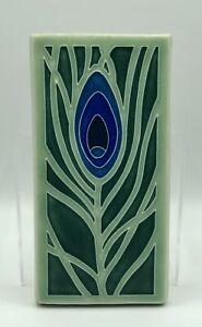 Motawi Tile Works Peacock Feather Dark Ocean Art Tile /b