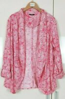 M&Co Women's Cardi Size 12 Pink Floral Linen Blend, Jacket Waterfall Cardigan
