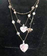 Betsey Johnson Pink Glass 3-Tier Necklace w Lots of Hearts!