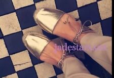 Gold ZARA Espadrilles Sandales Neuf 6 39 Flats Chaussures Lacets BNWT