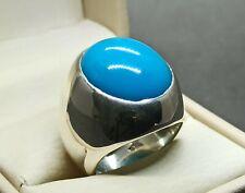 Natural Neshapuri Feroza Sterling Silver 925 Handmade Turquoise Big Mens Ring