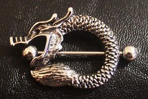 Dragon Nipple Shield Steel Ring Bar men women piercing jewelry snake tribal asia