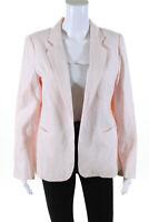 Joie Womens Linen Open Front Blazer Light Pink Size 8