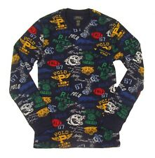 Polo Ralph Lauren Men's Varsity Stamp Print Waffle Knit Thermal Crew-Neck Shirt