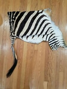 """Burchnell Zebra Skin Pillow 24""""x16"""" & 16"""" Attached Tail"""