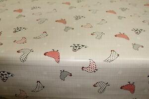 PVC Chicken in Polka Gingham  Oilcloth Vinyl Tablecloth Wipe Easy 140CM Wide