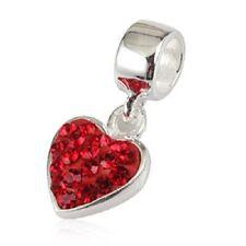 Rojo corazón amor genuino 925 plata pulsera con dijes Europea Bead Fits
