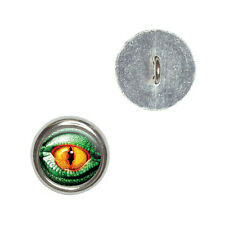Lizard Yellow Eye Green Scales - Metal Craft Sewing Novelty Buttons Set of 4