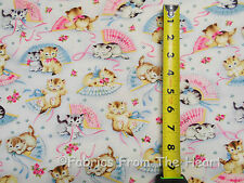 Smitten Kittens Cats W Pink Blue fans Roses YARDS Michael Miller COTTON Fabric