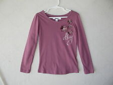 DKNY Mauve Long Sleeve T-Shirt with 3D Flower Applique Girls size 6  NWT G82232